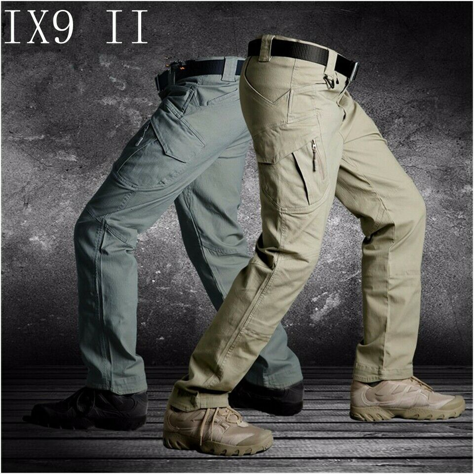 Mens Tactical Cargo Pants Combat Military QuickDry Hiking Casual Waterproof IX9
