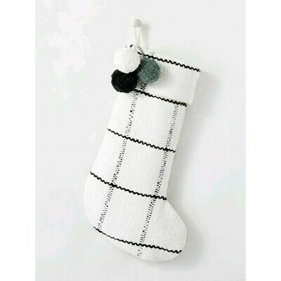Hearth & Hand Woven Plaid with Poms Holiday Stocking Gray/Cream NEW Christmas