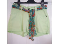 Vintage shorts by Carrs in lime green with scarf belt in multicolour UK size 10