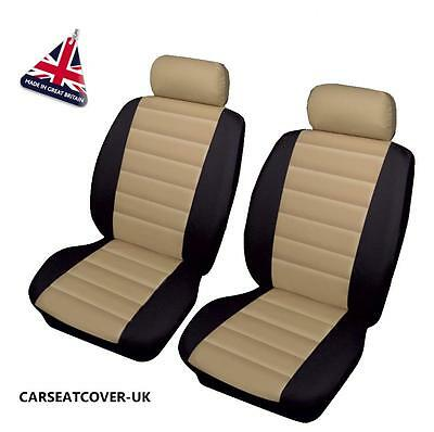 TESLA ROADSTER - Front PAIR of Beige/Black LEATHER LOOK Car Seat Covers