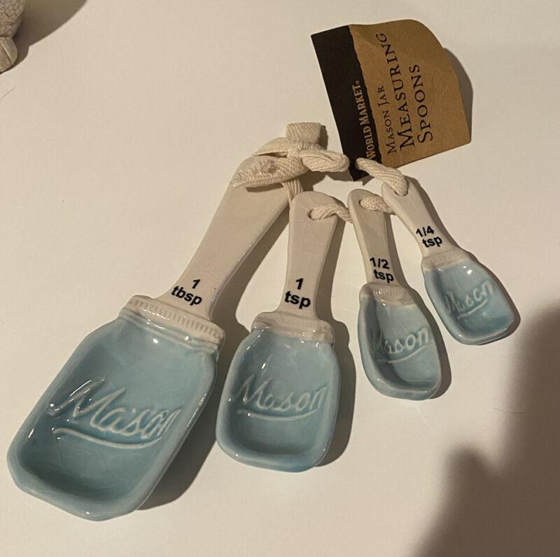 NEW Ceramic Measuring Spoons Blue / White Mason Jar Design Set of 4 World Market