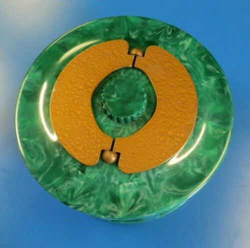 Vintage Green Marbled BakeliteTurnit Poker Chip Carousel