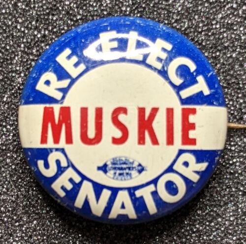 Original 1964 Re-Elect Ed Muskie For Senator Campaign Litho Pinback Senate
