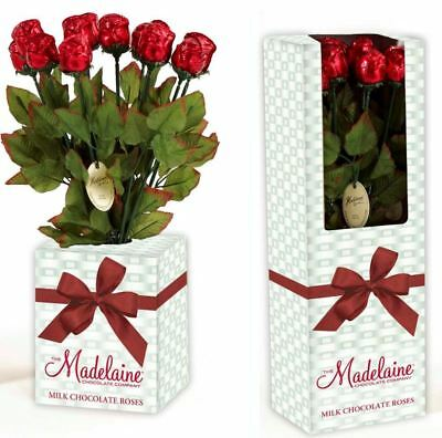 Milk Chocolate Valentine Roses   12 Ct Gift Box   Free Expedited Shipping