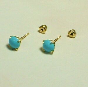 14k solid yellow gold 7mm cabochone natural Arizona turquoise earrings