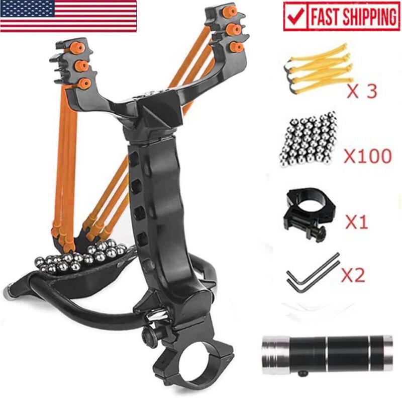 Pro Hunting Laser Slingshot Set Heavy Duty High Velocity Catapult Wrist Sling US