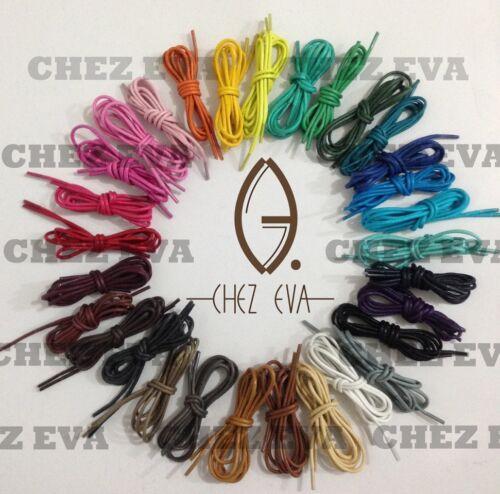 4 lengths (70/80/100/120cm) multi color cotton waxed round cord dress shoe laces