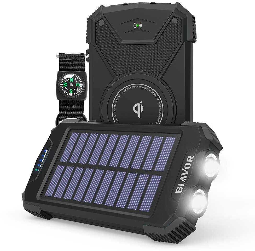 BLAVOR Qi Portable Charger 10000mAh External Battery Solar P