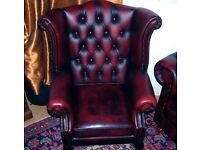 Beautiful Oxblood Chesterfield 3 seater sofa, 1 seat sofa chair and Queen Anne wing back chair