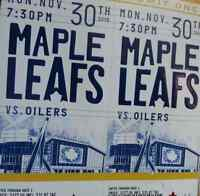 LEAFS vs OILERS NOVEMBER 30 gold seats $150 off face value!!!