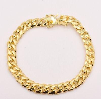 "Italian 8.5"" Solid Miami Cuban Bracelet Double Lock 14K Yellow Gold Clad Silver"