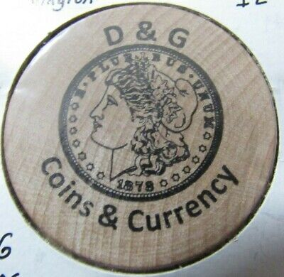 Vintage D&G Coins & Currency Bloomington, IL Wooden Nickel - Token Illinois