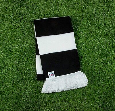 Newcastle United FC Colours Retro Bar Scarf - Black & White - Made in UK