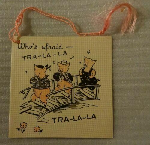 VINTAGE THREE LITTLE PIGS BRIDGE TALLY CARD