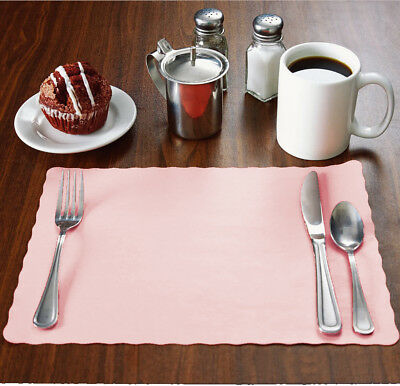 "50 Raise® Baby/Light Pink Placemats,Scalloped Edge,10""x14"" place mats,disposable"