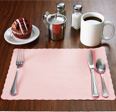 "Raise 2000 Baby/Light Pink Placemats, Scalloped Edge,10""x14"", Disposal, Flat"