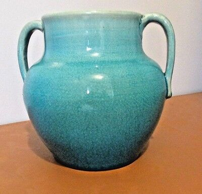Pisgah Forest art pottery vase-dated 1939 Turquoise CRACKLE NORTH CAROLINA