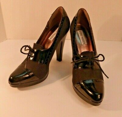 Steve Madden Reilly 8.5 M Black Platform Oxford Cap-toe Lace-up Pumps Heels NICE Cap Toe Oxford Heels