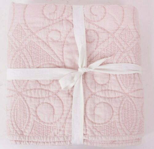 Pottery Barn Kids Washed Cotton toddler crib nursery quilt, pink, *sample*