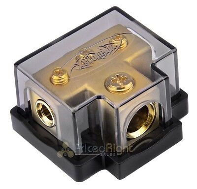 Xscorpion 0/4 Gauge Gold Terminal T Distribution Block With Adapters TB0444G