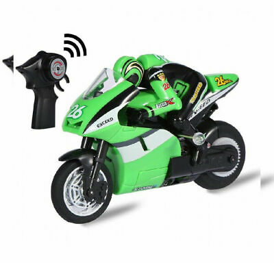 Top Race 4 Channel RC Remote Control Motorcycle Goes on 2 Wheels with Green