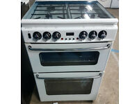 m493 white new home 60cm double oven gas cooker comes with warranty can be delivered or collected