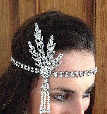 Children's size Gatsby 1920s Headband Art Deco style silver Flapper Headpiece