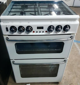 n493 white newhome 60cm double oven gas cooker comes with warranty can be delivered or collected