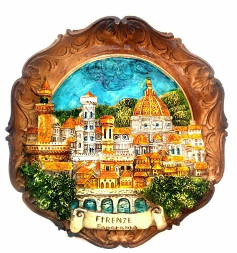 Panoramic Florence, italy Souvenir 3-D Plaque Made in Italy