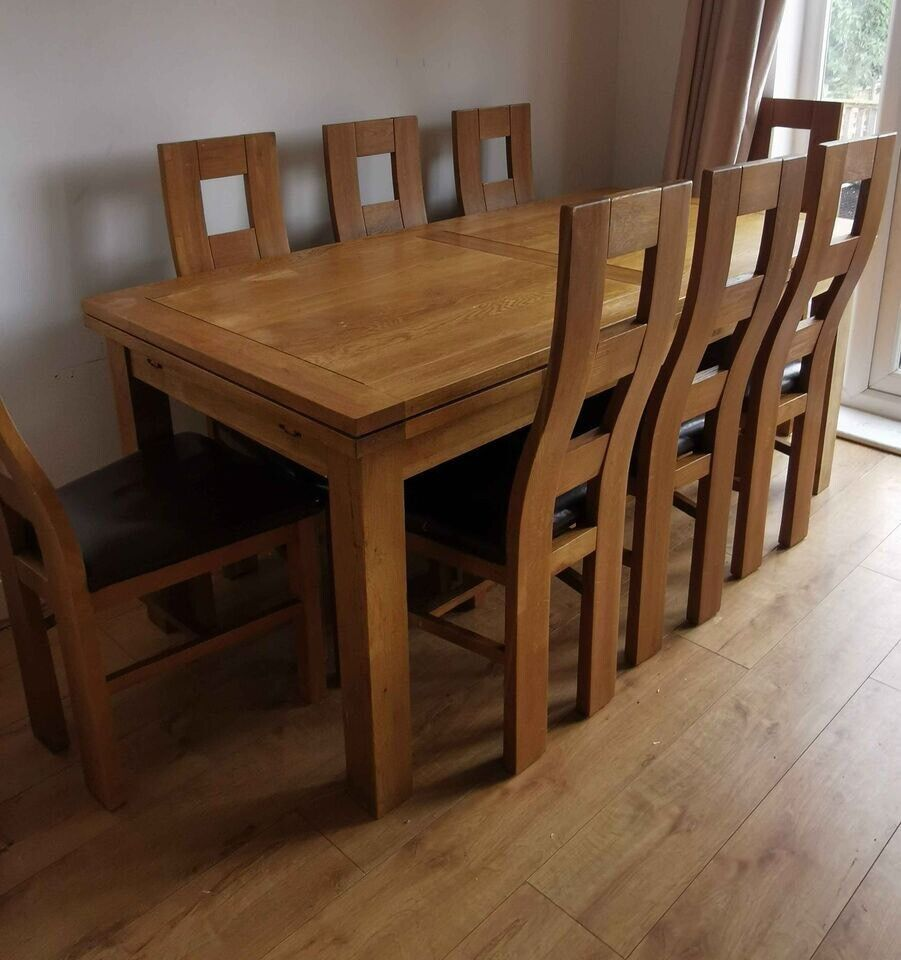Oak Furniture Land extending dining table and 9 Chairs Delivery ...