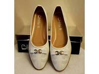 white ballerina pumps