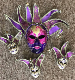 Set of Purple/Gold Glittered Masquerade Mask's, One Large, Three Smaller