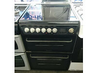 Hc740 black hotpoint 60cm double oven ceramic hob electric cooker comes with warranty can deliver