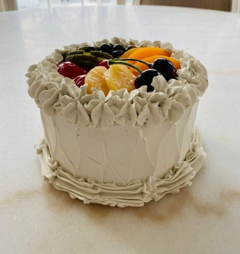 Fake Cake White With Fruit Top Prop Display Home Decoration