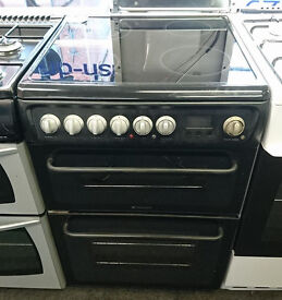 Fc740 black hotpoint 60cm double oven ceramic hob electric cooker comes with warranty can deliver