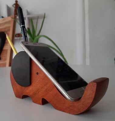 Phone Holder And Pen Holder Wooden Stand