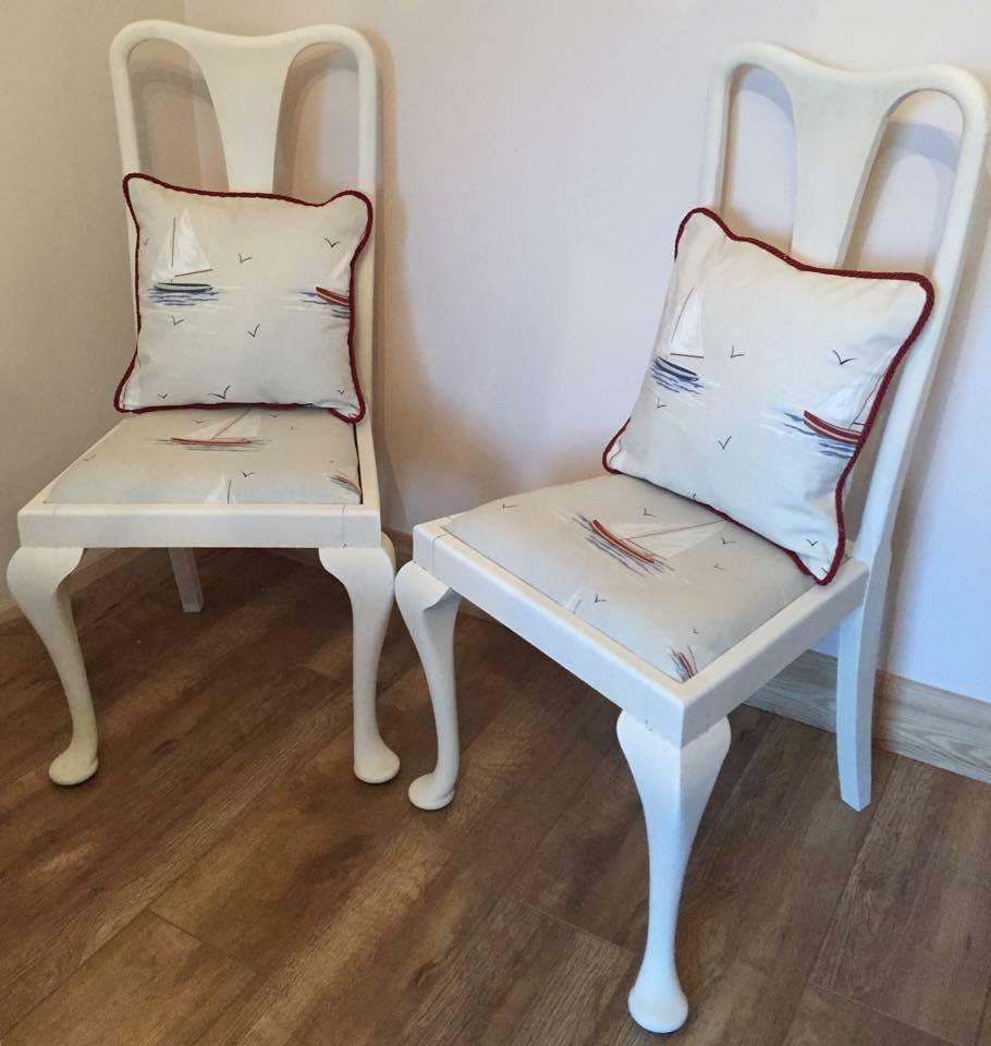 2 X Shabby Chic Wooden Chairs Vintage Chalk Paint Boat