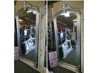 Large Silver arched Ornate mirror
