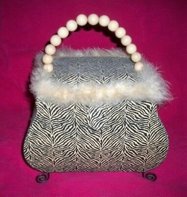 Vintage Animal Print SEWING Box Basket Case Purse Beaded Handle