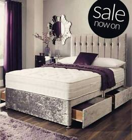 Crushed Velvet Bed Frame with memory foam mattress