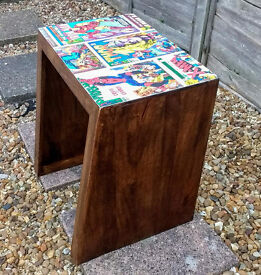 SIDE TABLE DECOUPAGED IN MARVEL DESIGN LEGS WIDER AT BOTTOM/SLANTED W50 X H55 X D33CM (D33CM AT TOP