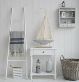 White Decorative Ladder - Towel stand, clothes, blanket - living room