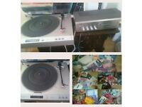 Vinyl record player, and huge bundle of lps