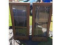 TWO KITCHEN, GLASS FRONTED DISPLAY UNITS/CABINETS. WITH DRAWS, SHABBY CHIC PROJECT