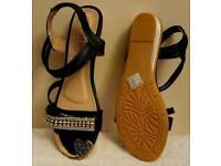 black flat diamante sandals