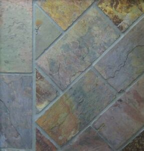 SLATE TILES, Charcoal-Multicolour 380x190mm (Selling by the Square Metre)