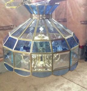 HANGING BEVELED BLUE & CLEAR GLASS PANE CHANDELIER LIGHT