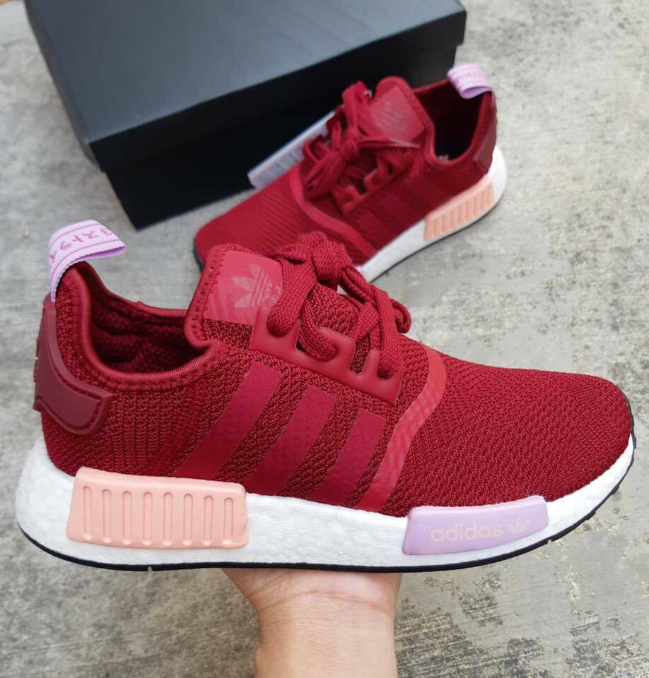 Adidas NMD R1 Womens Shoes Collegiate Burgundy White Orange B37646 Size 8.5 9.5