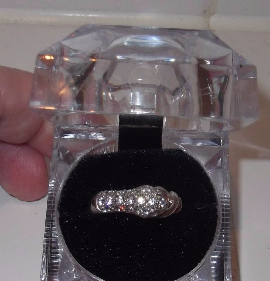 Unworn sterling silver and diamonique snake ring by Qvc