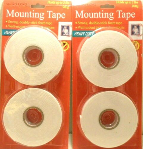 DOUBLE SIDED TAPE 4 ROLLS (2 PACKS) DOUBLE SIDED FOAM MOUNTING TAPE